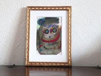 手描きの現代アート/現代絵画/おしゃれな壁掛け/可愛いインテリア/カラフルな絵画・もくもくシリーズ・怪獣と太陽と星の画像