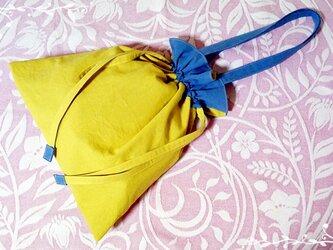 ハーフリネンのリバーシブル巾着バッグ♪の画像