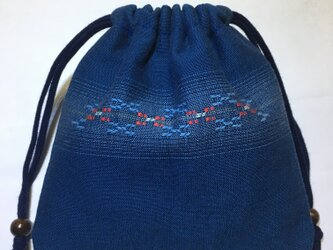 花織巾着(小)/藍色の画像