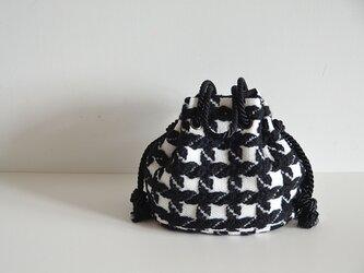 数量限定 イタリア製 モノトーン千鳥格子ファンシーツイード マリンバッグ ブラック フォーマルコーデにもの画像
