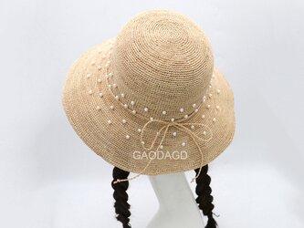 ☆超細目編み ビーズの飾り付け 手作りの麦わら帽子の画像