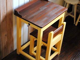 ☆かわいいパタパタ机と引出し付きの椅子セット★レモンイエロー&オークカラーの画像