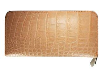 シャムクロコ(クロコダイル革)レディース・メンズ財布 ラウンドファスナー サーモンピンクの画像