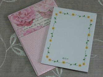 ★お名前入り★ 台付きmy メモ帳(ミニサイズ) ピンク色(薔薇と文字) の画像