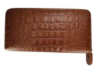 クロコダイル調牛革長財布 レディース・メンズ ラウンドファスナー タンカラーの画像