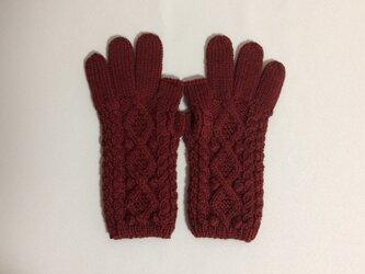 【受注制作】メリノウール100%手袋 えんじ色の画像