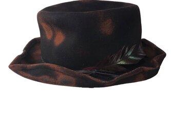 Square brim crash fedora Hatの画像