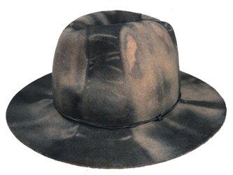 Handle blue dyed fedora hatの画像