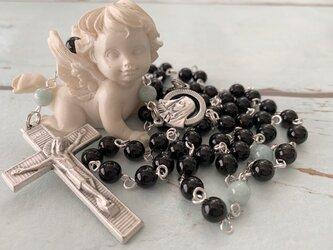 モリオン(黒水晶)と翡翠のロザリオの画像