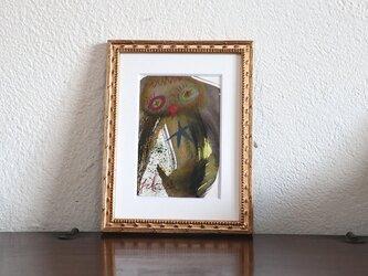 手描きの現代アート/現代絵画/おしゃれな壁掛け/可愛いインテリア/カラフルな絵画・もくもくシリーズ・カッパと星の画像