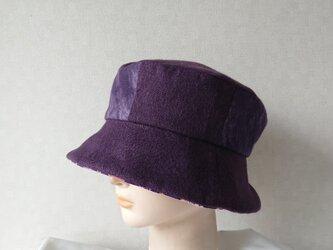 魅せる帽子☆コットン&ちりめんプリントのクロッシュ~パープルの画像