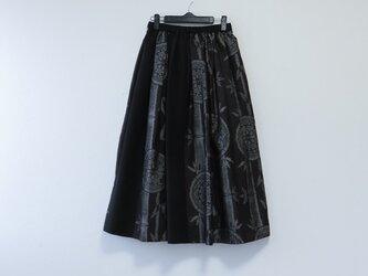 *アンティーク着物*丸紋と竹模様泥大島紬のパッチスカート(裏地つき)の画像