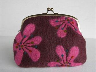 レトロな花柄のフェルトがまぐち ピンク*受注制作*の画像