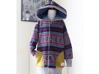 【120】ロングブルゾン・フード付ロングコート*ノルディックスノー柄 雪の結晶 紺 裏地付きの画像