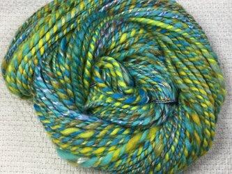 【スピンドルで手紡ぎした糸です☆】  メリノ&手染めのテンセル 43g グリーン&イエローの画像