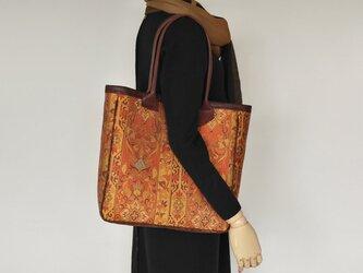 着物リメイク トートバッグ 花鳥 装飾紋様の画像