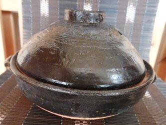 陶器 土鍋 1人用 黒地の画像