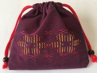 花織巾着(小)/ 赤色の画像