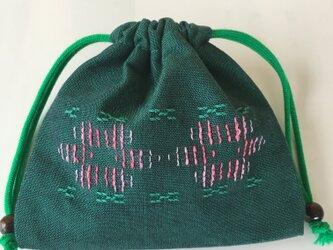 花織巾着(小) /緑色の画像