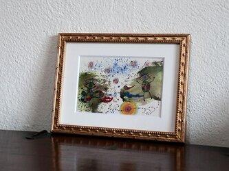 アートコレクション/手描きの現代アート/小さい絵画/ 現代絵画/おしゃれな壁掛け・もくもくシリーズ・恋人の画像