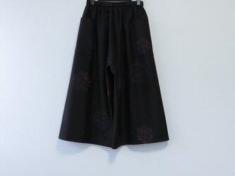 *アンティーク着物*染め丸模様泥大島紬の短め丈ワイドパンツ(裏地なし)の画像