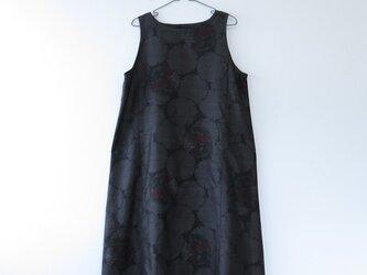 *アンティーク着物*丸と花模様泥大島紬のワンピース(Lサイズ)の画像