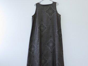 *アンティーク着物*菱模様泥大島紬のワンピース(Lサイズ・5マルキ)の画像