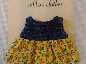 sokko's Dress 濃紺デニムと黄色地花柄のワンピースの画像