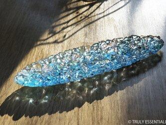 ガラスのアクセサリートレイ - 「 KUBOMI 」● ターコイズブルー・28cmの画像