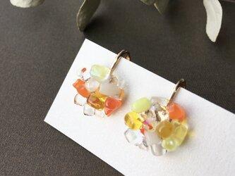 ガラス イヤリング つぶつぶアクセサリー イエローミックス 箱付きの画像
