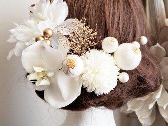 white系ヘッドドレスと和ponボールの髪飾り15点Set No710の画像