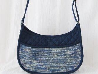 ☆セール☆ 裂き織りショルダーバッグ(紺)の画像