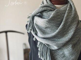 手織りカシミヤショール フォレストグリーンの画像