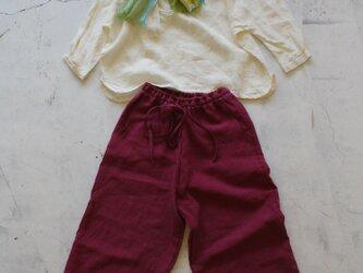 【春NEW】9分丈ワイドパンツ4ポケット*belgian-linen25/全12色【受注生産】の画像