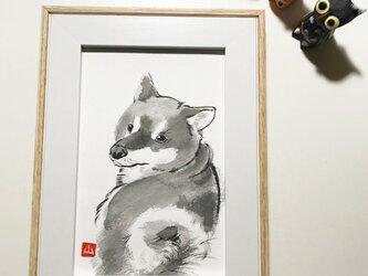 墨絵原画「シバイヌ」の画像
