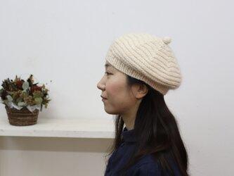 コットン × シルクモヘアのニットベレー(クリーム)の画像