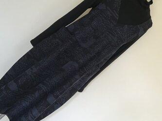 0120  着物リメイク      Vネックジャンバースカート    手織り真綿紬  L~LL寸法の画像