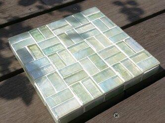 ★ガラスタイルのディスプレイ台 4013★ モザイクタイル インテリア 鍵 時計 トレーの画像