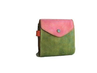 革 財布 ピンク×オリーブ 手染めの画像