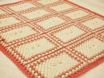長方形モチーフのブランケット*ピンク×ベージュ×白の画像