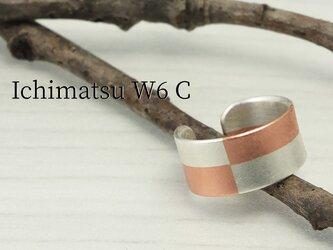 C-IchimatsuCW6  銀と銅市松文様のイヤーカフ 幅6mmの画像