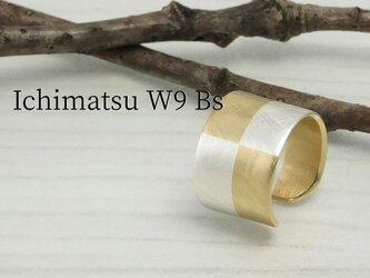 C-IchimatsuBs9  銀と真鍮市松文様のイヤーカフ 幅9mmの画像