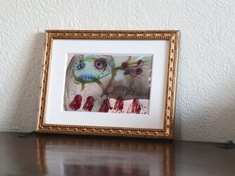 アートコレクション/手描きの現代アート/小さい絵画/ 現代絵画/おしゃれな壁掛け・もくもくシリーズ・迷子の魚の画像