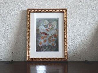 小さい絵画/現代アート/アートコレクション/壁掛けアート/可愛いインテリア/絵画壁掛け/癒しシリーズ・白い猫と星の画像