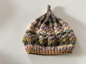 1点限定!どんぐりニット帽子 野呂英作毛糸使用 ブラウンベージュの画像