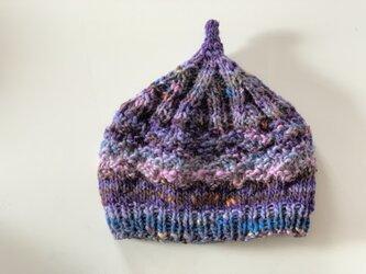 1点限定!どんぐりニット帽子 野呂英作毛糸使用 ブルーパープルの画像