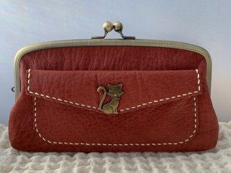 猫さんホックの外ポッケが付いた、本革親子がま長財布【ダークレッドレザー】の画像