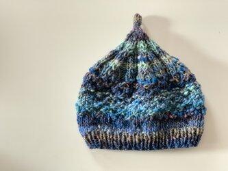 1点限定!どんぐりニット帽子 野呂英作毛糸使用 ブルーネイビーの画像