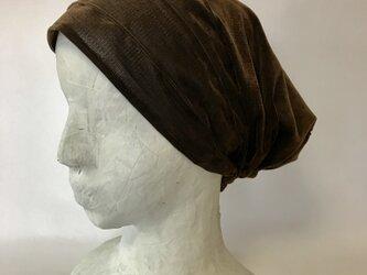 ターバン風帽子(ベロア調の布)(こげ茶)の画像