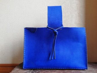 四角いワンハンドルバッグ コバルトブルー 国産オイルヌメの画像
